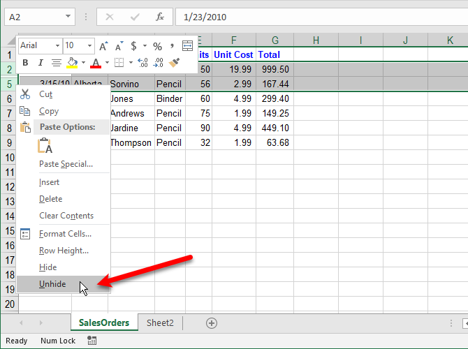 Unhide rows in Excel