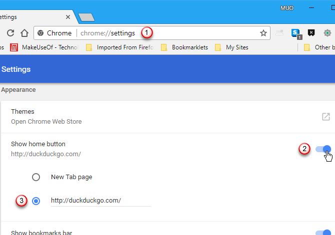 Show Home button in Chrome