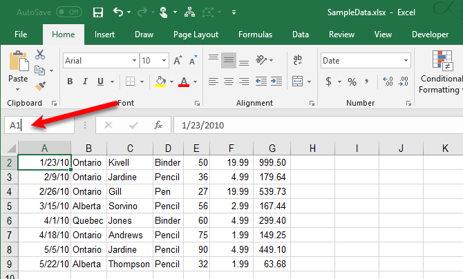 Unhide the first row in Excel