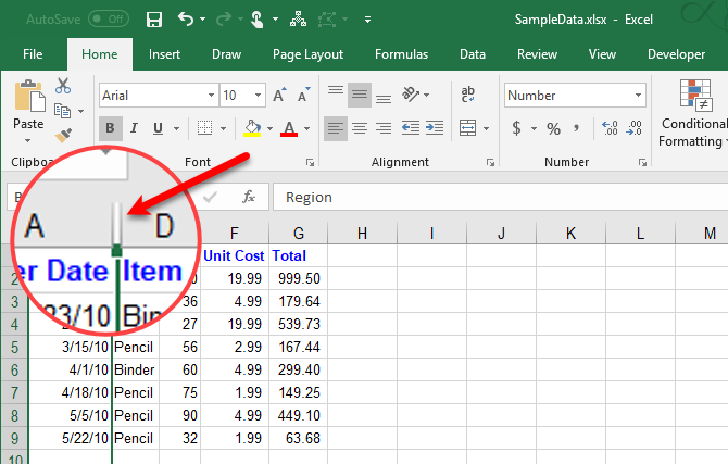 Hide columns in Excel