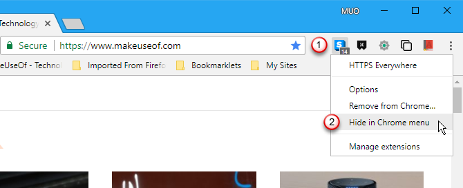 Hide extension buttons in Chrome menu