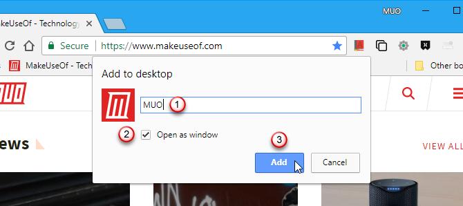 Add to desktop dialog box in Chrome