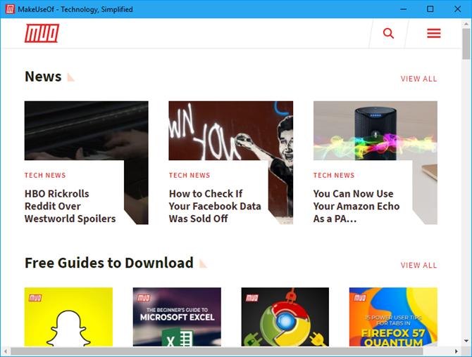 Website app window