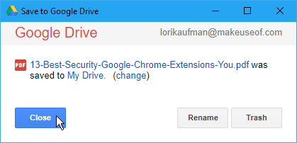 Save to Google Drive dialog box