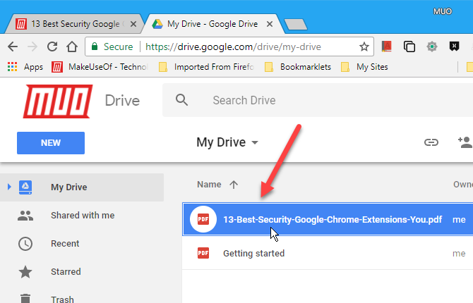 PDF file saved to Google Drive account