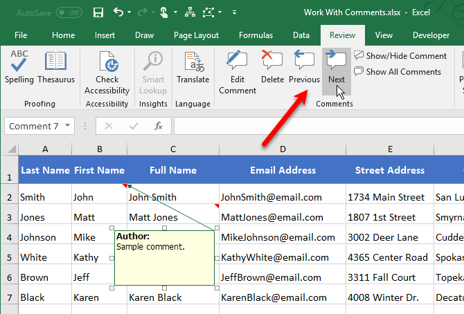 Review Excel comments using the Previous and Next buttons