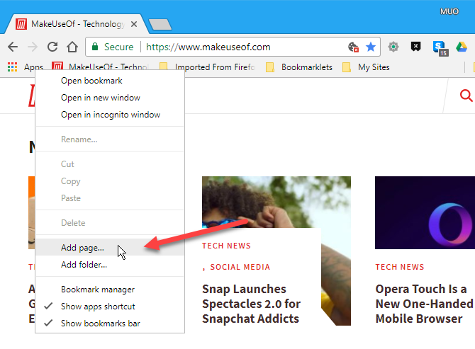 Select Add page on bookmarks bar in Chrome