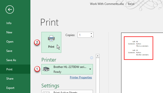 Print screen on the File tab in Excel