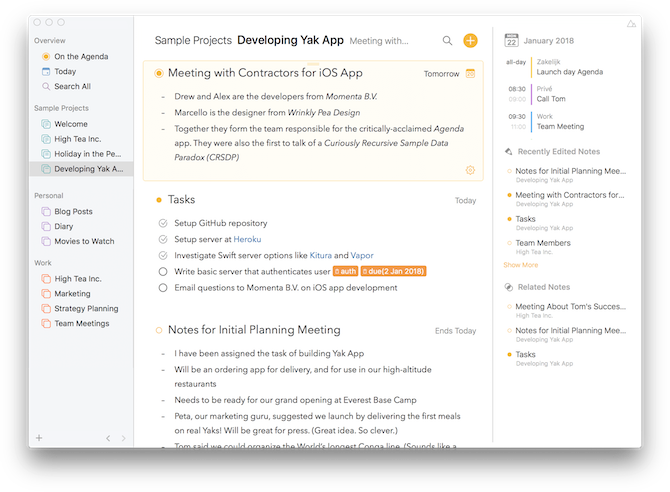 note taking apps for mac - Agenda Notes App