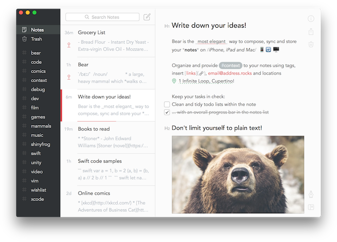 note taking apps for mac - Bear Writing UI