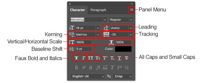 working with text in photoshop - photoshop character panel