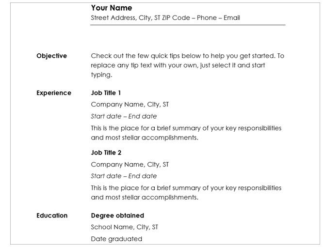 microsoft word resume templates chronological minimalistic - Resume Templates Word