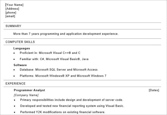 microsoft word resume templates - programmer resume