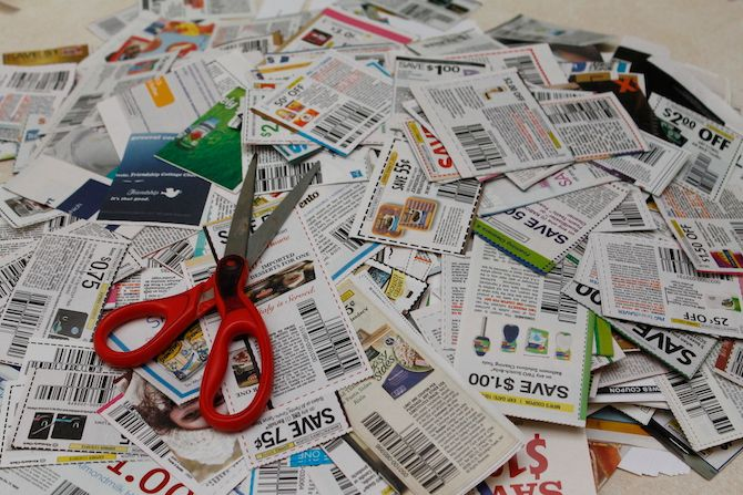 Pile of coupons with scissors