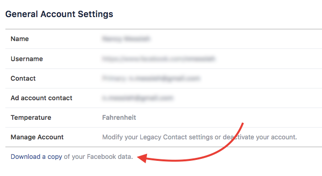 facebook download data - facebook new privacy settings