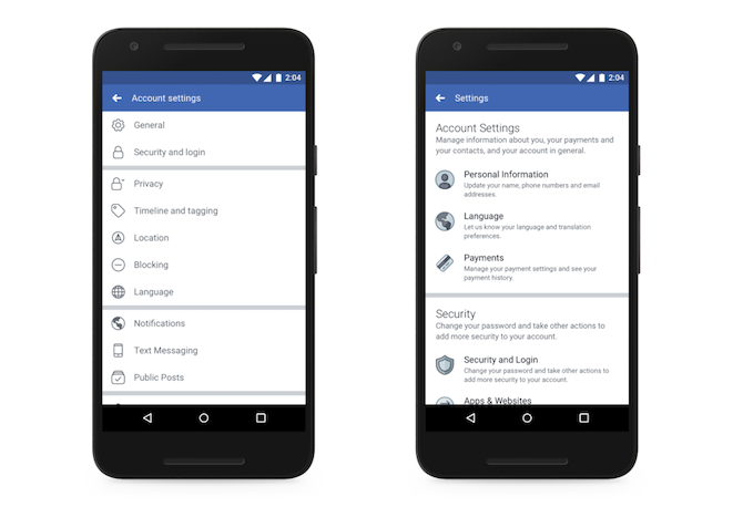 redesigned facebook settings