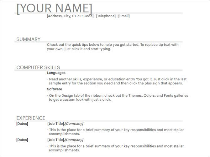 microsoft word resume templates general - Resume Templates Word