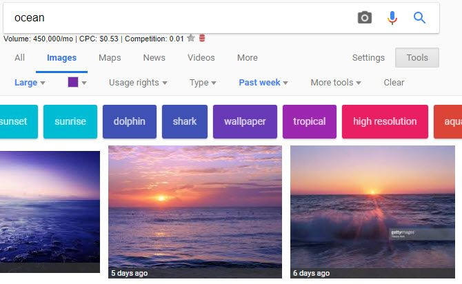 Google Image Search Tools