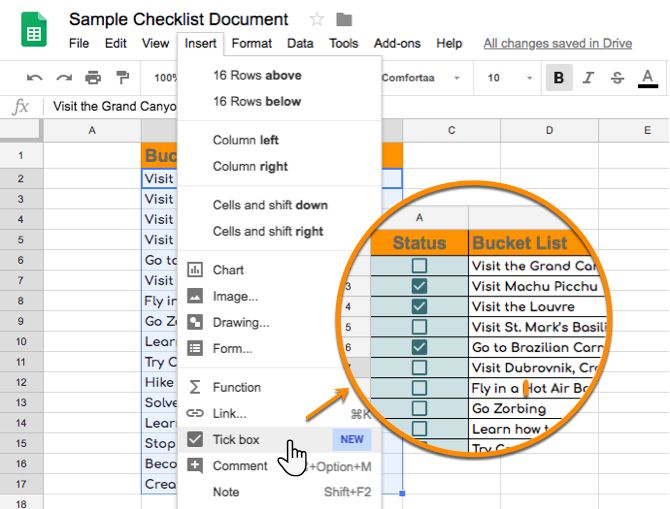 Insert a Tick box in Google Sheets