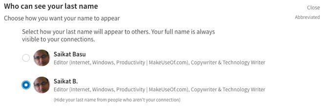 Last Name Options on LinkedIn