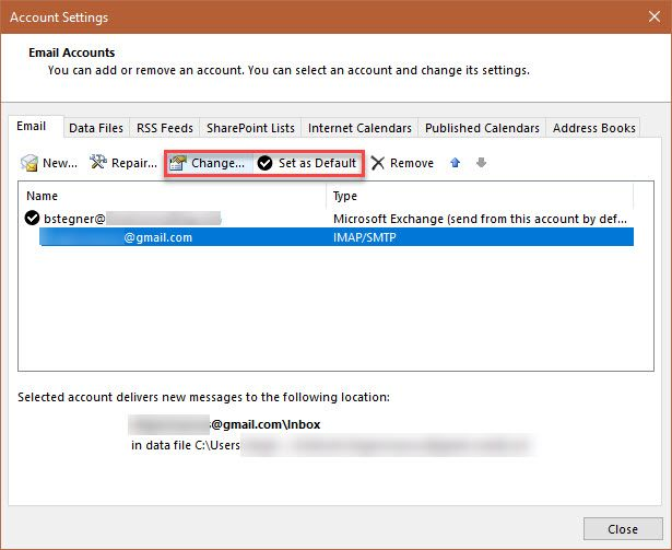 Outlook Account Settings for Gmail