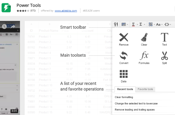 google sheets add ons - Power Tools
