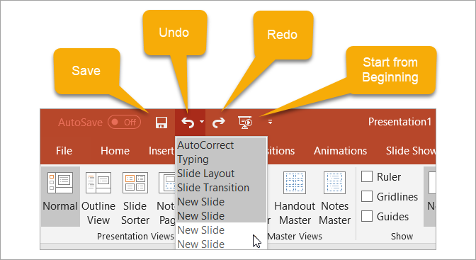 Beginner's Guide to Microsoft PowerPoint - Quick Access Toolbar