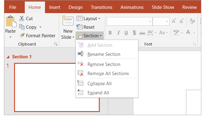 Beginner's Guide to Microsoft PowerPoint - Section Options