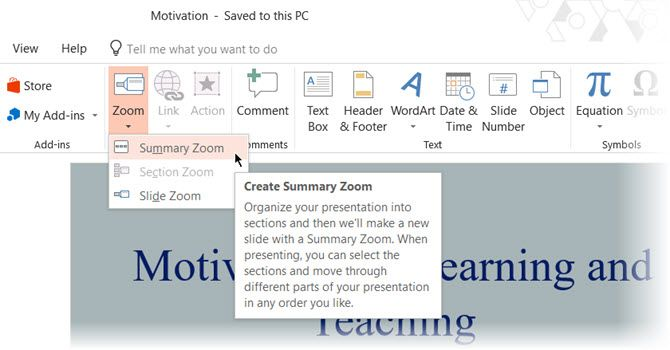 Summary Zoom in PowerPoint