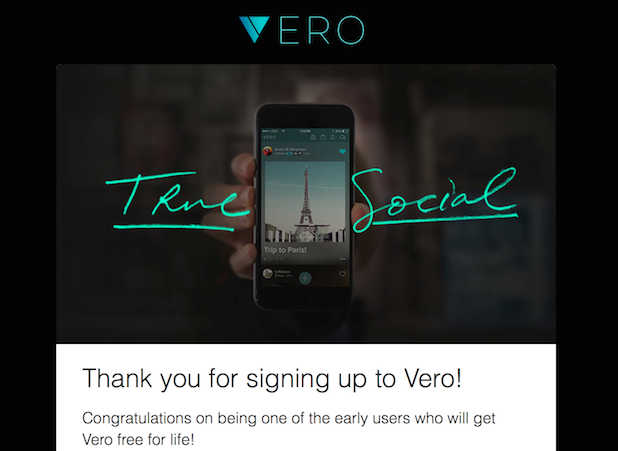 Vero True Social subscription