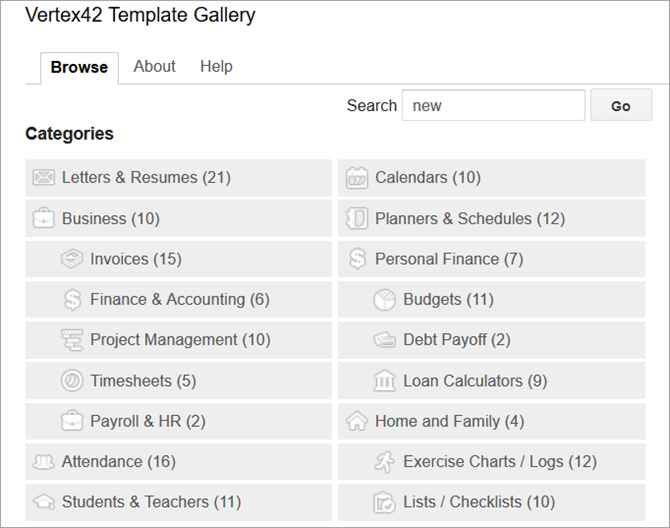 Vertex42 for Google Sheets Templates