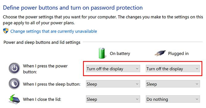 How to Turn Off a Laptop Screen in Windows 10 With the Power Button Windows10 Power Screen