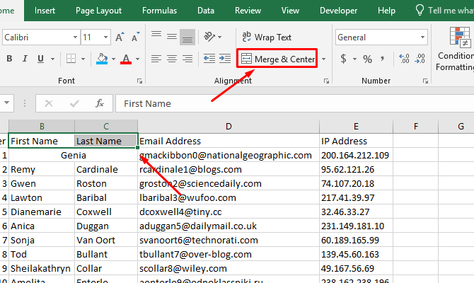 how to merge cells in excel - Excel Merge & Center button