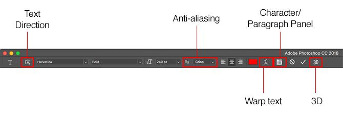 working with text in photoshop - photoshop text options
