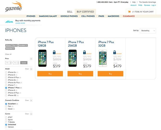best place to buy used iphone - Gazelle iPhone storefront