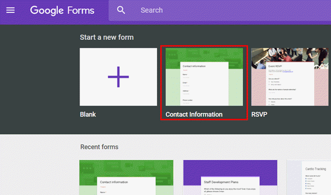 Google Sheets, contact form