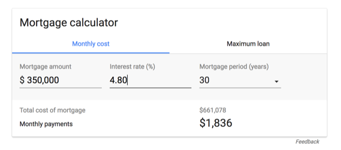 Mortgage calculator in Google's results page