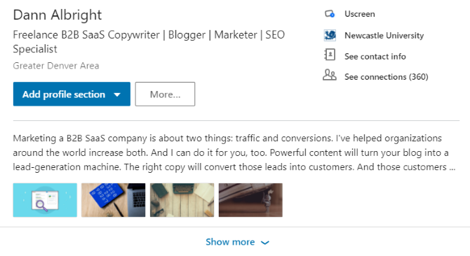 Collapsed Linkedin Summary View