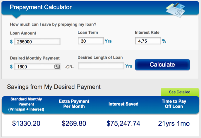 HSH mortgage prepayment calculator