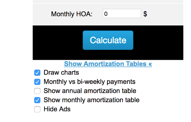 Show amortization tables on MortgageCalculator.org