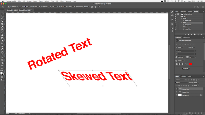 working with text in photoshop - photoshop skew rotate