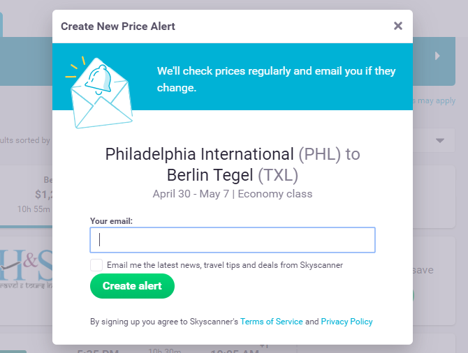 Price Alerts for Upcoming Trips