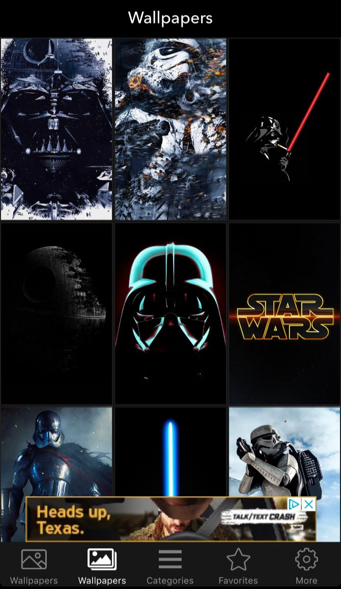 For some personalization, make sure to download a Star Wars wallpaper app. As is evident, the iOS app is all about offering a huge number of different Star ...