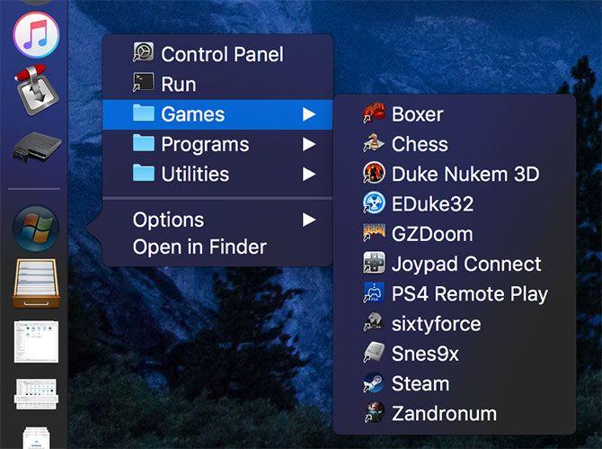 Aplicaciones del menú Inicio en Mac
