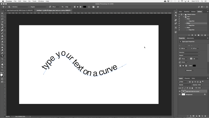 working with text in photoshop - photoshop curved text