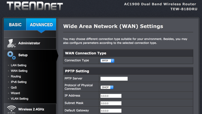 setup vpn on router - VPN settings on Trendnet router