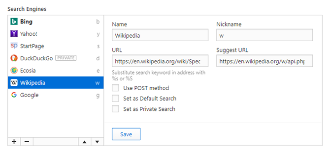 Vivaldi Browser tips - search fast with nicknames