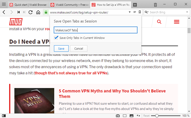 Vivaldi Browser tips - save tabs for later