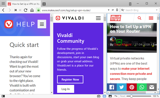 Vivaldi Browser tips - use split view with tab tiling