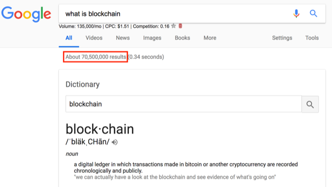 """Google results for """"what is blockchain?"""""""